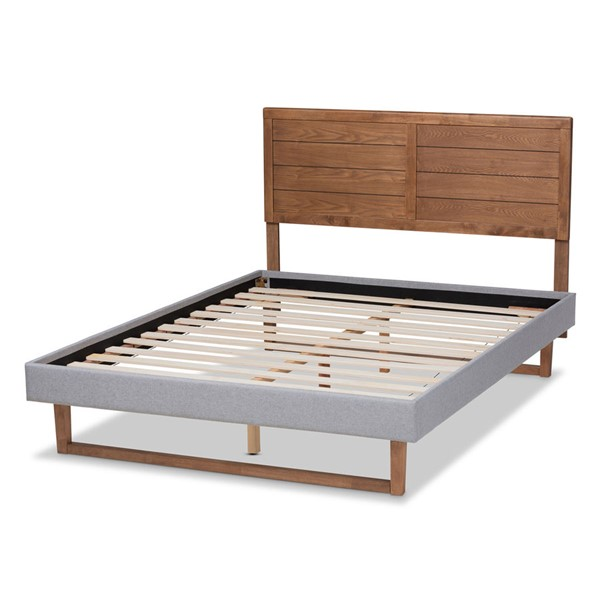 Baxton Studio Claudia Light Grey Ash Walnut Wood King Platform Bed BAX-Claudia-Light-Grey-Ash-Walnut-King