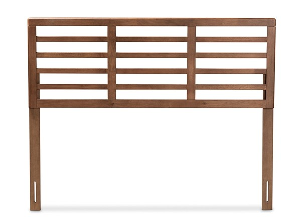 Baxton Studio Salome Walnut Brown Wood Open Slat King Headboard BAX-MG97063-Ash-Walnut-HB-King