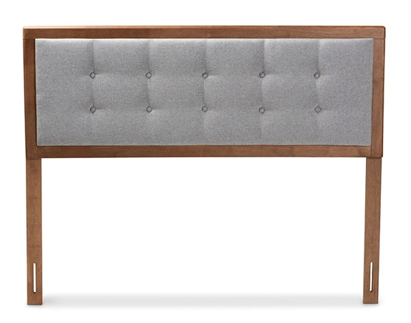 Baxton Studio Sarine Light Grey Fabric Walnut Brown Wood Queen Headboard BAX-MG97053-Light-Grey-Ash-Walnut-HB-Queen