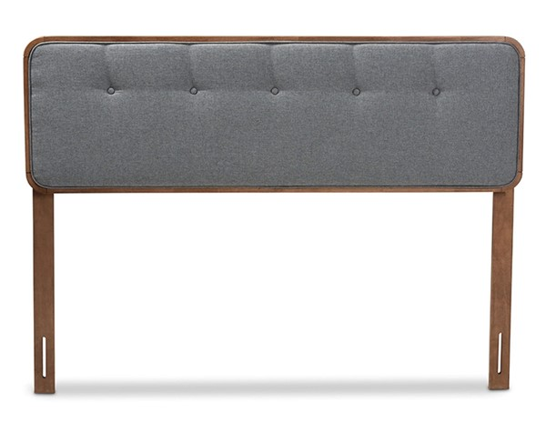 Baxton Studio Palina Dark Grey Fabric Walnut Wood King Headboard BAX-MG3000PC-Dark-Grey-Ash-Walnut-HB-King