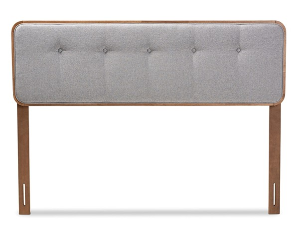 Baxton Studio Palina Light Grey Fabric Walnut Wood Queen Headboard BAX-MG3000PC-Light-Grey-Ash-Walnut-HB-Queen
