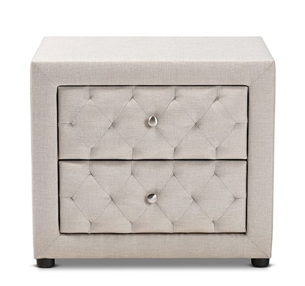 Baxton Studio Lepine Light Beige Fabric Upholstered 2 Drawers Night Stand BAX-BBT3164-Light-Beige-NS