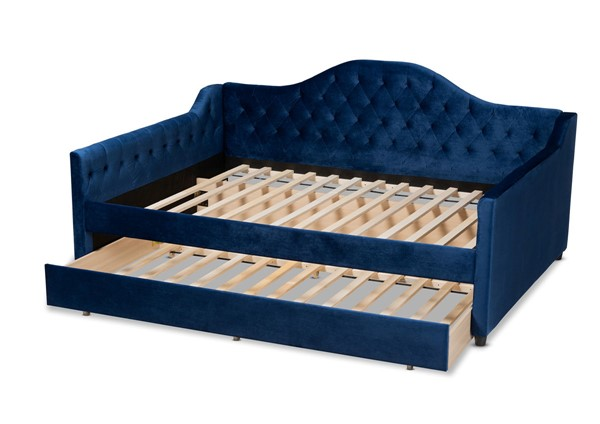 Baxton Studio Perry Navy Blue Velvet Button Tufted Full Daybed with Trundle BAX-CF8940-Navy-Blue-Daybed-F-T