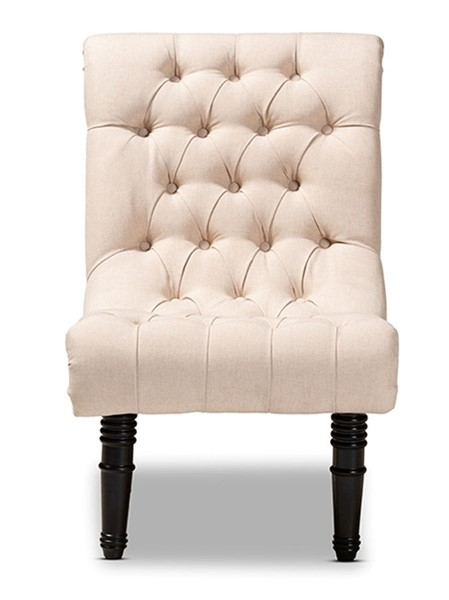 Baxton Studio Barthe Beige Fabric Upholstered Rolled Back Accent Chair BAX-1810-Beige-CC