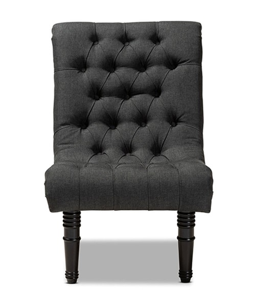 Baxton Studio Barthe Charcoal Fabric Upholstered Rolled Back Accent Chair BAX-1810-Grey-CC
