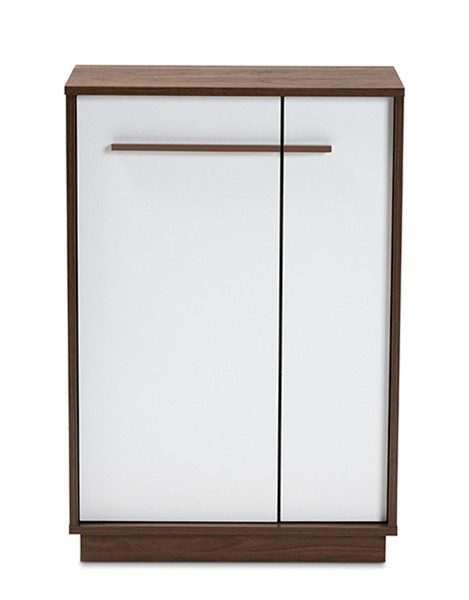 Baxton Studio Mette White Walnut Wood 5 Shelves Entryway Shoe Cabinet BAX-LV3SC3150WI-Columbia-White-Shoe-Cabinet