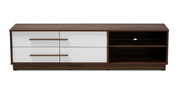 Baxton Studio Mette White Walnut Wood 4 Drawers TV Stand BAX-LV3TV3120WI-Columbia-White-TV