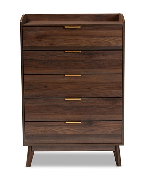 Baxton Studio Lena Walnut Brown Wood 5 Drawers Chest BAX-LV4COD4232WICOLMB-5DWCHST