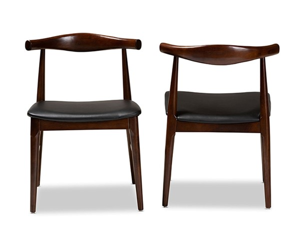 2 Baxton Studio Eira Black Faux Leather Upholstered Dining Chairs BAX-Elbow-Black-Walnut-DC