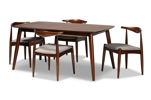 Baxton Studio Aeron Light Gray Fabric Walnut Wood 5pc Dining Set BAX-AERON-LGY-WL-5PCDINSET
