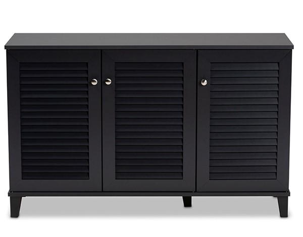 Baxton Studio Coolidge Dark Grey Wood 8 Shelves Shoe Storage Cabinet BAX-FP-04LV-Dark-Grey