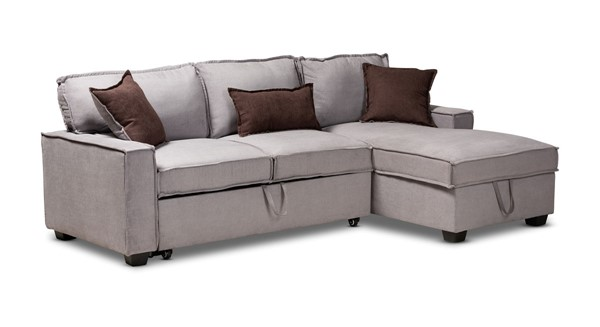 Baxton Studio Emile Light Grey Fabric Right Facing Storage Sectional Sofa with Pull Out Bed BAX-R8651-Light-Grey-RFC