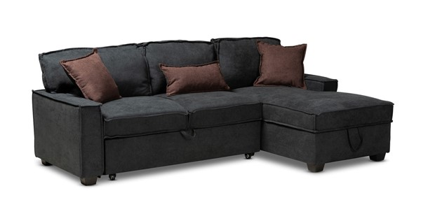 Baxton Studio Emile Charcoal Fabric Right Facing Storage Sectional Sofa with Pull Out Bed BAX-R8651-Dark-Grey-RFC