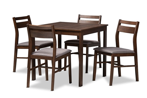 Baxton Studio Lovy Gray Fabric Dark Walnut Wood 5pc Dining Set BAX-LOVY-DINSET-GY-DWL