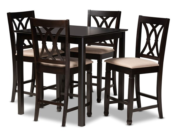 Baxton Studio Reneau Sand Fabric Espresso Brown Wood 5pc Pub Set BAX-RH316P-SD-DBR-5PCPUBSET