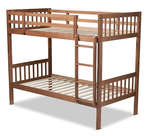 Baxton Studio Jude Walnut Brown Wood Twin Bunk Bed BAX-MG0045-Walnut-Twin-Bunk-Bed