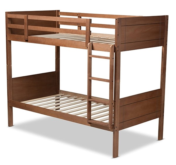 Baxton Studio Elsie Walnut Brown Wood Twin Bunk Bed BAX-MG0051-Walnut-Twin-Bunk-Bed