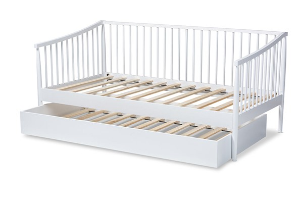 Baxton Studio Renata White Wood Twin Spindle Daybed with Trundle BAX-Renata-White-Daybed-T