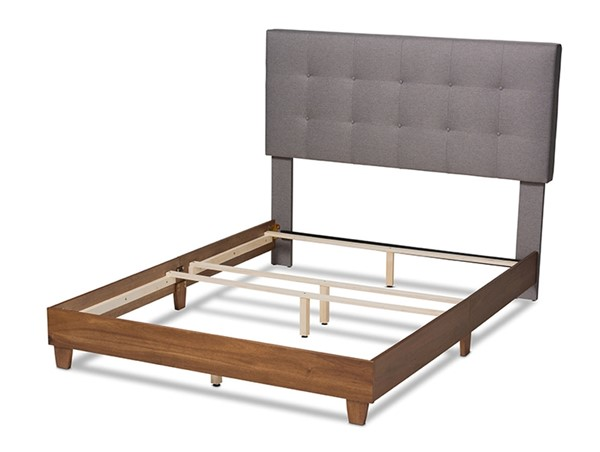 Baxton Studio Taida Grey Fabric Upholstered Walnut Wood Queen Bed BAX-BBT6810-Grey-Walnut-Queen
