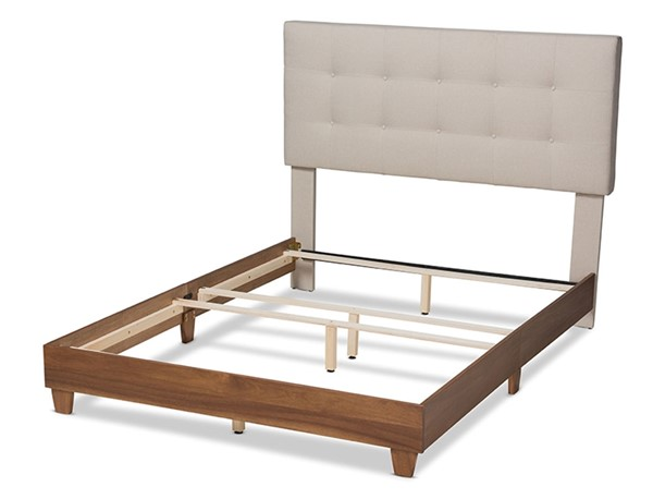 Baxton Studio Taida Light Beige Fabric Upholstered Walnut Wood King Bed BAX-BBT6810-Light-Beige-Walnut-King
