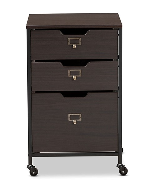 Baxton Studio Felix Espresso Wood 3 Drawers Mobile File Cabinet BAX-BG1708A-Dark-Brown