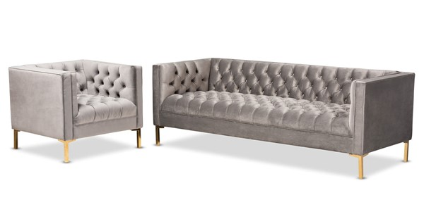 Baxton Studio Zanetta Gray Velvet 2pc Sofa and Lounge Chair Set BAX-TSF-7723-Grey-Gold-2PC-Set