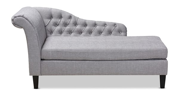 Baxton Studio Florent Grey Fabric Upholstered Chaise Lounge BAX-CFCL2-Grey-Black-KD-Chaise