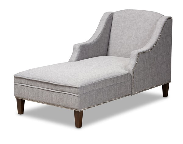 Baxton Studio Leonie Grey Fabric Upholstered Chaise Lounge BAX-CFCL3-Grey-Wenge-KD-Chaise