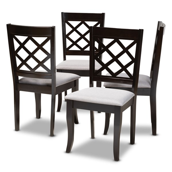 4 Baxton Studio Verner Grey Fabric Upholstered Dining Chairs BAX-RH330C-Grey-Dark-Brown-DC