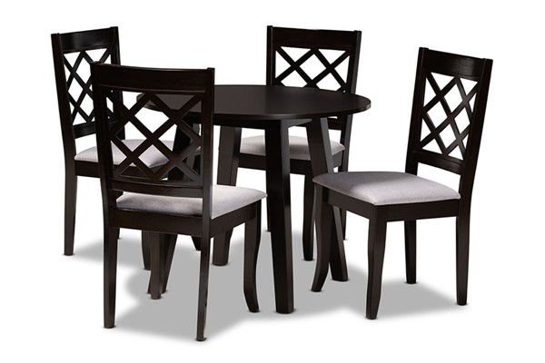 Baxton Studio Daisy Grey Dark Brown 5pc Dining Set BAX-Daisy-Grey-Dark-Brown-5PC-Dining-Set