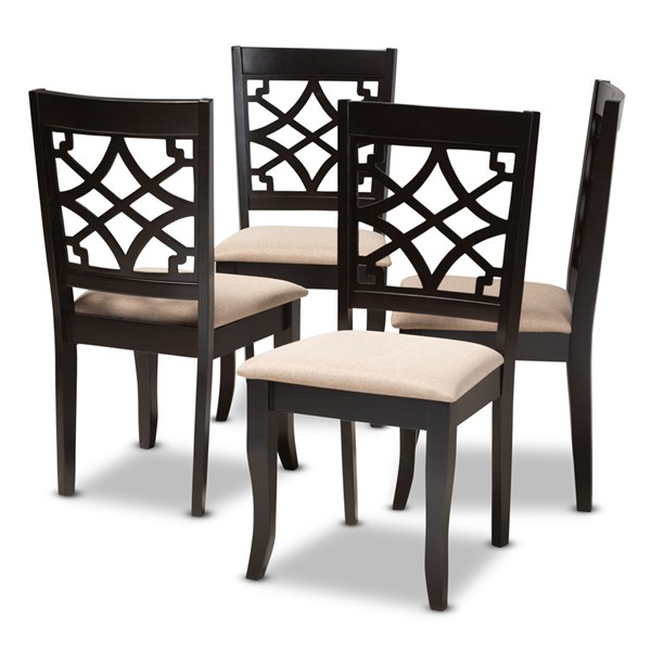 4 Baxton Studio Mael Sand Fabric Upholstered Dining Chairs BAX-RH331C-Sand-Dark-Brown-DC