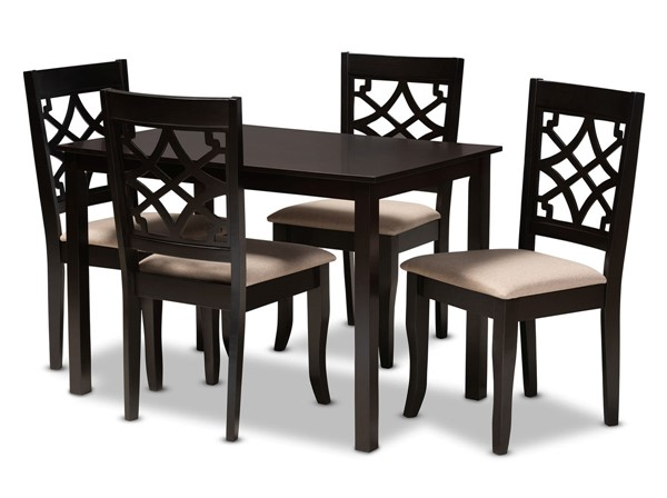 Baxton Studio Mael Sand Fabric Espresso Brown Wood 5pc Dining Set BAX-RH331C-Sand-Dark-Brown-5PC-Dining-Set