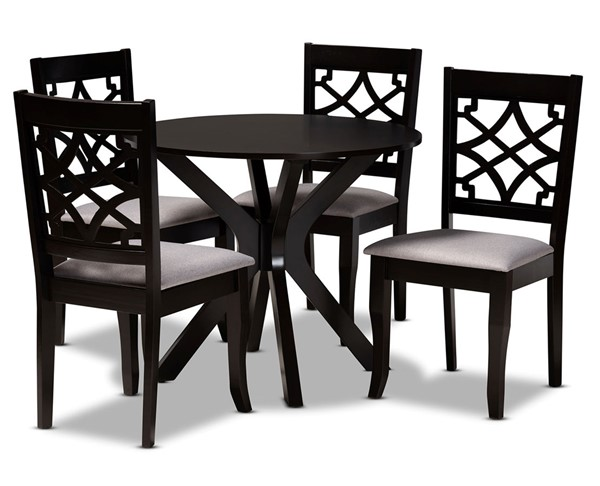 Baxton Studio Elena Grey Dark Brown 5pc Dining Room Set BAX-ELENA-GY-DBR-5PCDINSET