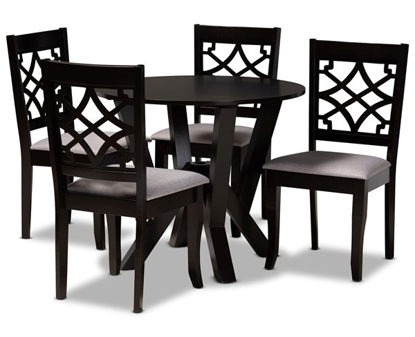 Baxton Studio Alisa Grey Dark Brown 5pc Dining Room Set BAX-ALISA-GY-DBR-5PCDINSET