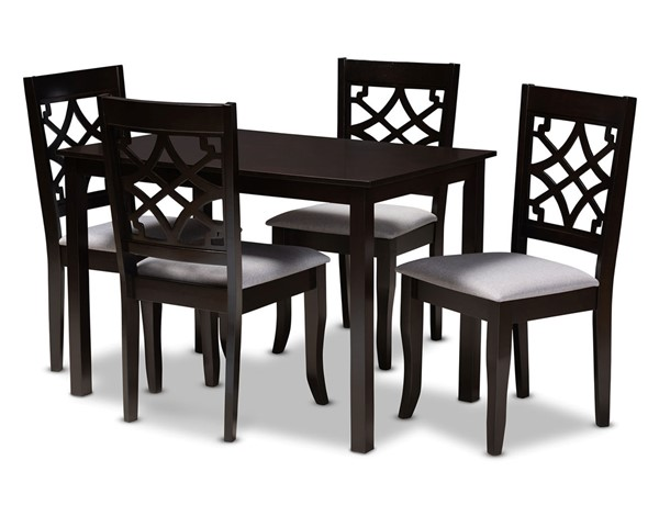 Baxton Studio Mael Fabric Espresso Brown Wood 5pc Dining Sets BAX-RH331C-5PC-Dining-Set-VAR
