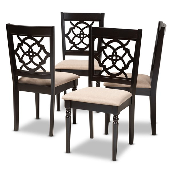 4 Baxton Studio Renaud Sand Fabric Upholstered Dining Chairs BAX-RH332C-Sand-Dark-Brown-DC