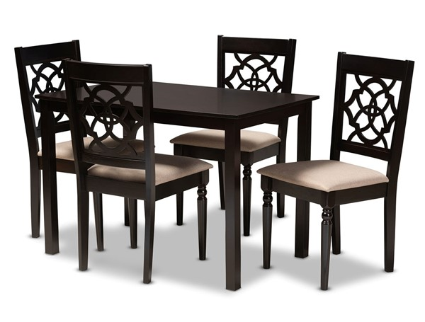 Baxton Studio Renaud Sand Fabric Espresso Brown Wood 5pc Dining Set BAX-RH332C-SD-DBR-5PCDINSET