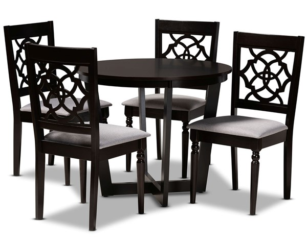 Baxton Studio Valerie Grey Dark Brown 5pc Dining Room Set BAX-VALERIE-GY-DBR-5PCDINSET