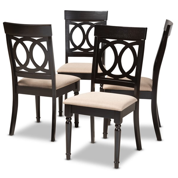 4 Baxton Studio Lucie Sand Fabric Upholstered Dining Chairs BAX-RH333C-Sand-Dark-Brown-DC