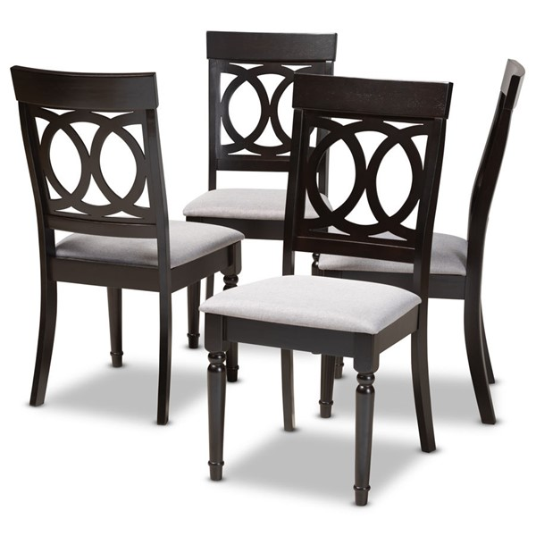 4 Baxton Studio Lucie Fabric Upholstered Dining Chairs BAX-RH333C-DC-VAR