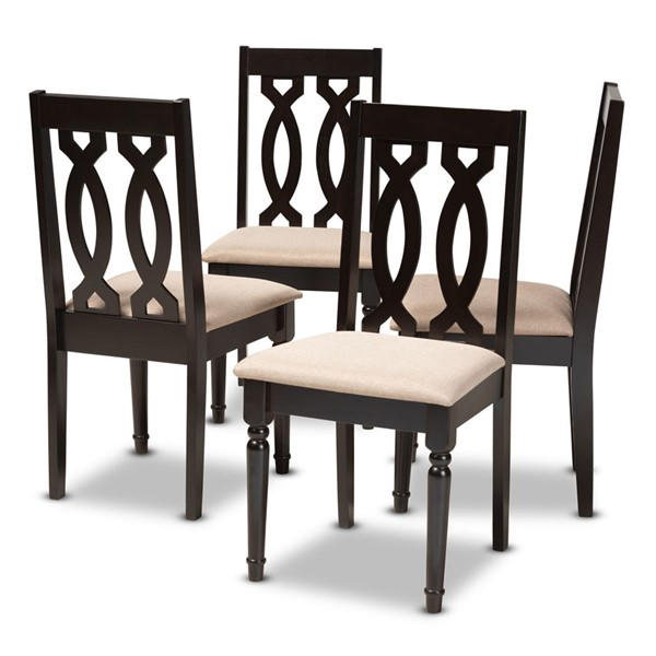 4 Baxton Studio Cherese Sand Fabric Upholstered Dining Chairs BAX-RH334C-Sand-Dark-Brown-DC