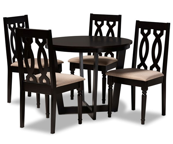 Baxton Studio Julie Sand Dark Brown 5pc Dining Room Set BAX-JULIE-SD-DBR-5PCDINSET