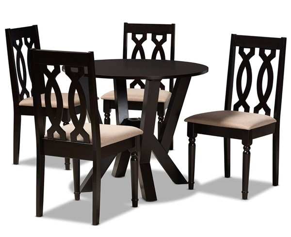 Baxton Studio Anise Sand Dark Brown 5pc Dining Room Set BAX-ANISE-SD-DBR-5PCDINSET