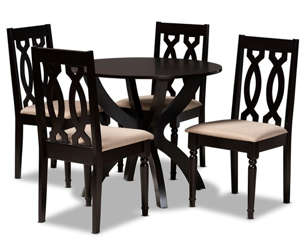 Baxton Studio Mona Sand Dark Brown 5pc Dining Room Set BAX-MONA-SD-DBR-5PCDINSET