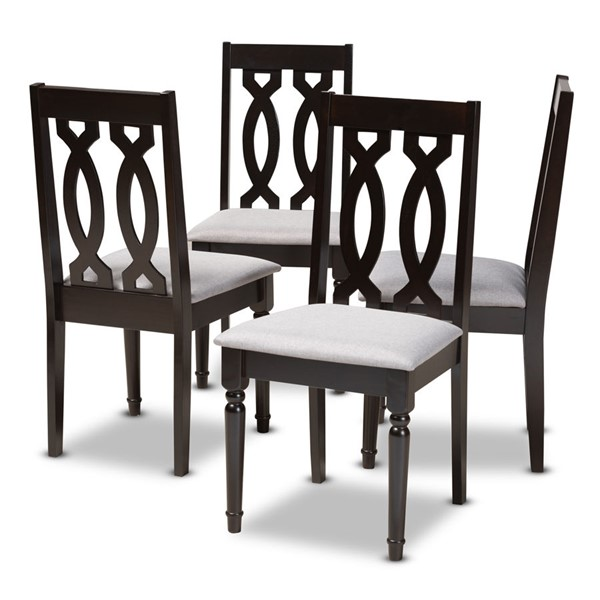 4 Baxton Studio Cherese Grey Fabric Upholstered Dining Chairs BAX-RH334C-Grey-Dark-Brown-DC