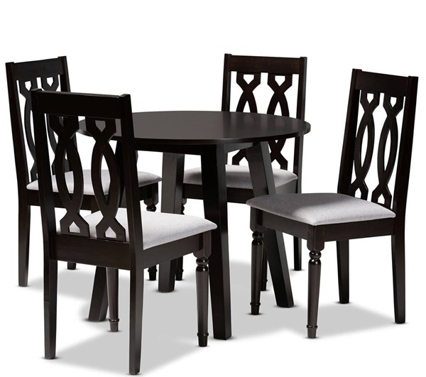 Baxton Studio Imogen Grey Dark Brown 5pc Dining Room Set BAX-Imogen-Grey-Dark-Brown-5PC-Dining-Set