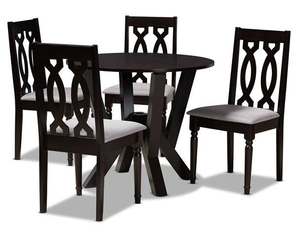 Baxton Studio Anise Grey Dark Brown 5pc Dining Room Set BAX-ANISE-GY-DBR-5PCDINSET