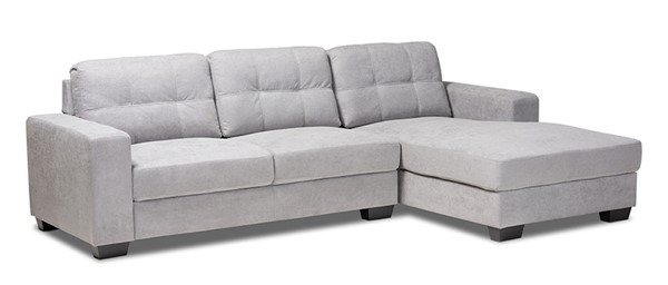 Baxton Studio Langley Light Grey Fabric Sectional Sofa with Right Facing Chaise BAX-J099C-Light-Grey-RFC