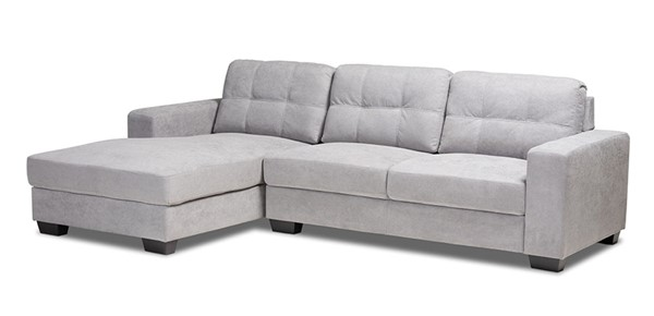 Baxton Studio Langley Light Grey Fabric Sectional Sofa with Left Facing Chaise BAX-J099C-Light-Grey-LFC