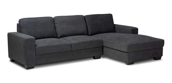 Baxton Studio Nevin Dark Grey Fabric Sectional Sofa with Right Facing Chaise BAX-J099S-Dark-Grey-RFC